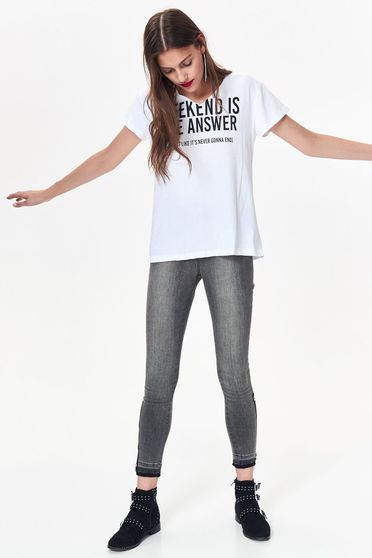 Top Secret white casual t-shirt nonelastic cotton with easy cut with print details texted
