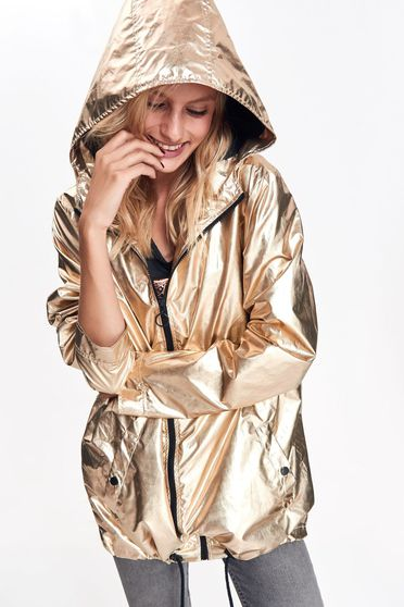 Top Secret gold jacket casual from shiny fabric with undetachable hood with pockets with easy cut