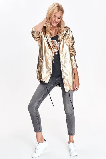 Top Secret gold casual jacket with easy cut from shiny fabric with undetachable hood with pockets
