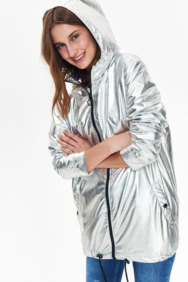 Top Secret silver jacket casual with easy cut from shiny fabric with undetachable hood with pockets