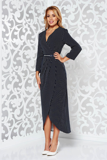Darkblue elegant asymmetrical 3/4 sleeve dress nonelastic fabric accessorized with belt