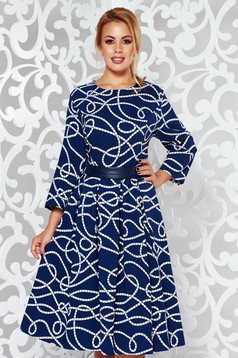 Blue elegant midi cloche dress slightly elastic cotton with graphic details accessorized with tied waistband
