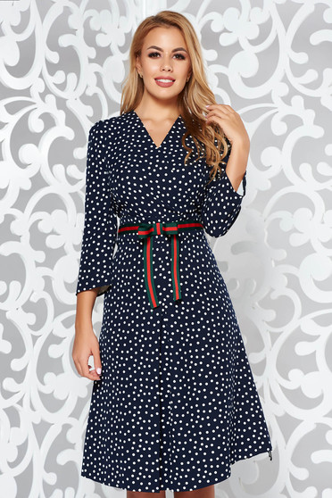 Darkblue elegant cloche dress soft fabric dots print with v-neckline