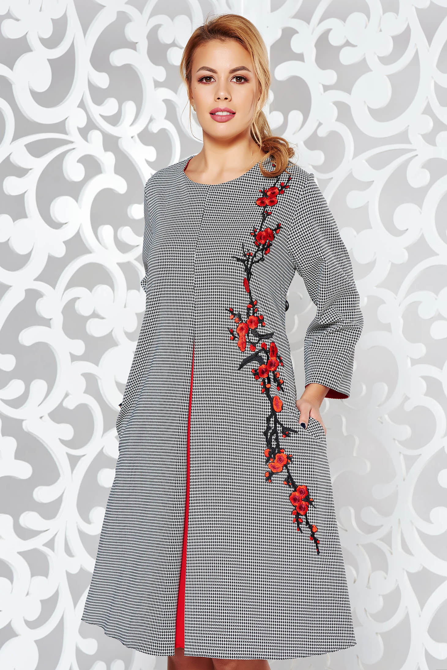 Grey office flared dress from elastic fabric with embroidery details with chequers