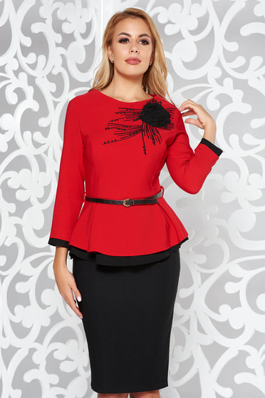 Red elegant from 2 pieces lady set with small beads embellished details accessorized with belt with tented cut