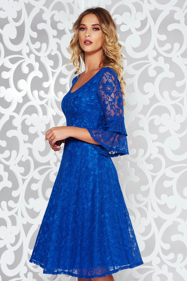 StarShinerS blue elegant cloche dress laced with v-neckline with bell sleeve