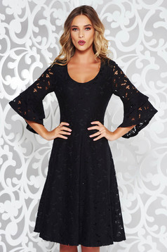 StarShinerS black elegant cloche dress laced with v-neckline with bell sleeve