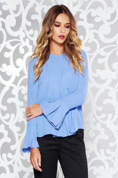StarShinerS lila women`s blouse elegant flared from veil fabric with ruffled sleeves