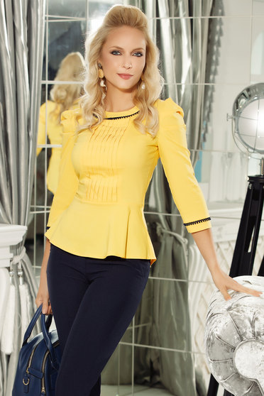 Fofy yellow women`s shirt office cotton with frilled waist arched cut