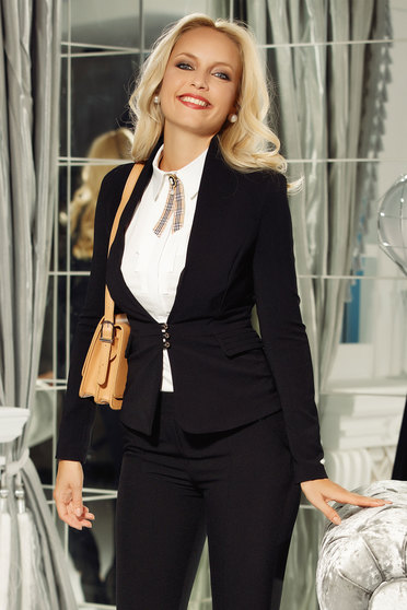 Fofy black jacket office tented cotton with buttons