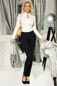 Fofy black trousers office slightly elastic cotton with medium waist conical with button accessories