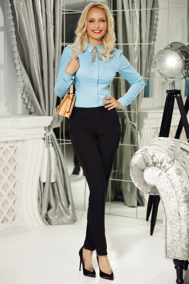 Fofy darkblue trousers office slightly elastic cotton with medium waist conical with button accessories