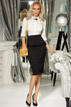 Fofy black skirt office pencil midi slightly elastic fabric high waisted with frilled waist