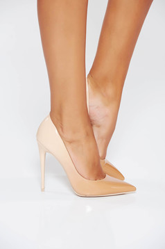 Cream elegant shoes slightly pointed toe tip with high heels from ecological varnished leather