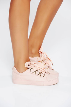 Pink casual sneakers low heel from ecological leather