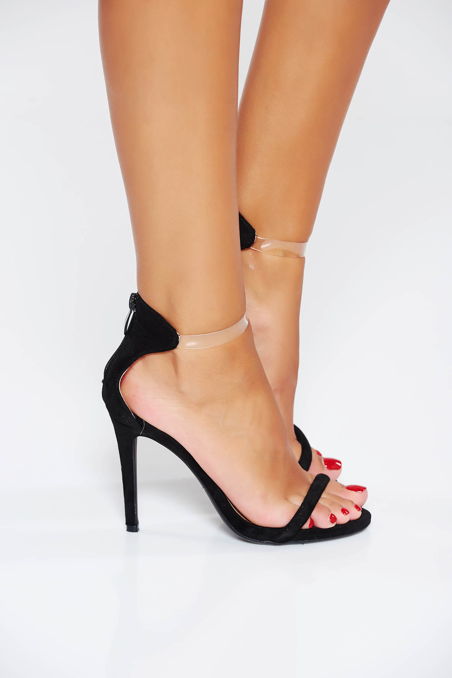Black occasional sandals from ecological leather with thin straps