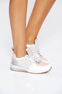 Pink casual sneakers with lace low heel from ecological leather