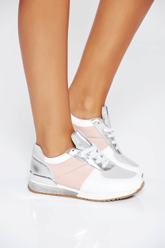 Grey casual sneakers with lace low heel from ecological leather
