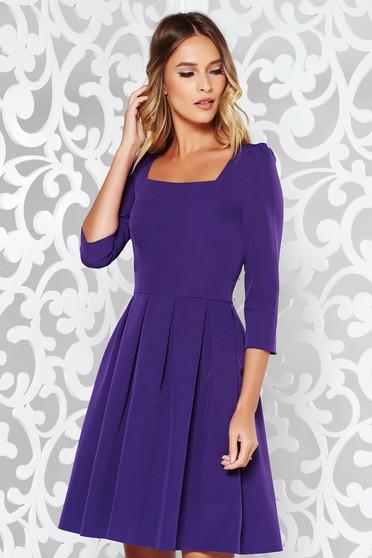 Purple dress elegant cloche slightly elastic fabric with 3/4 sleeves