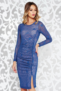 StarShinerS blue clubbing pencil dress transparent fabric with print details with inside lining