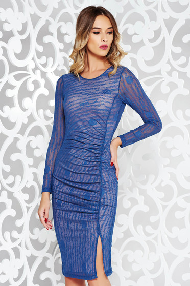 StarShinerS blue dress clubbing pencil transparent fabric with print details with inside lining