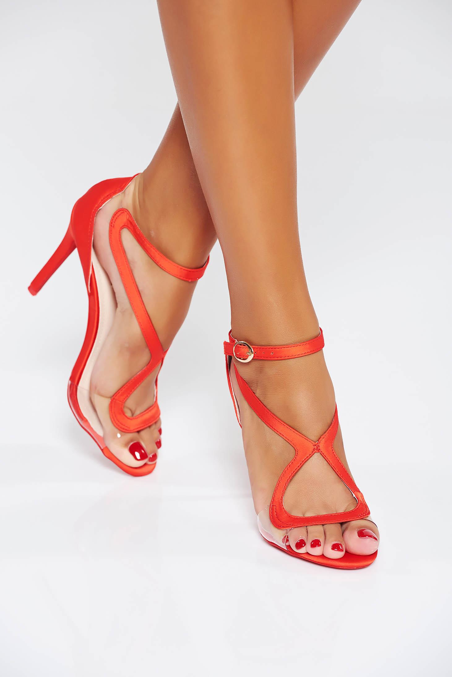 Sandale rosii de ocazie cu barete subtiri din piele ecologica