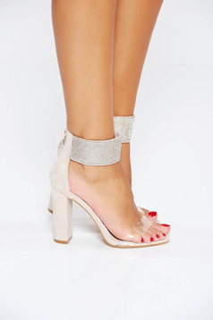 Cream occasional sandals with bright details from ecological leather