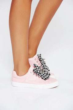 Pink casual sneakers low heel from ecological leather with lace