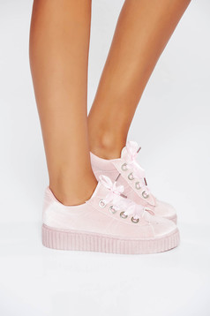 Rosa casual sneakers with lace low heel from ecological leather
