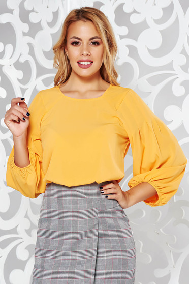 Mustard long sleeve flared women`s blouse nonelastic fabric