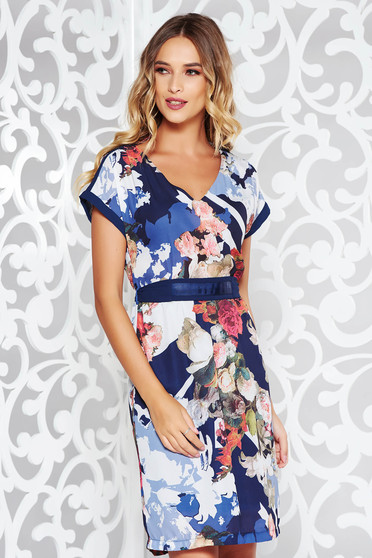 Darkblue elegant dress with straight cut slightly transparent fabric with floral print