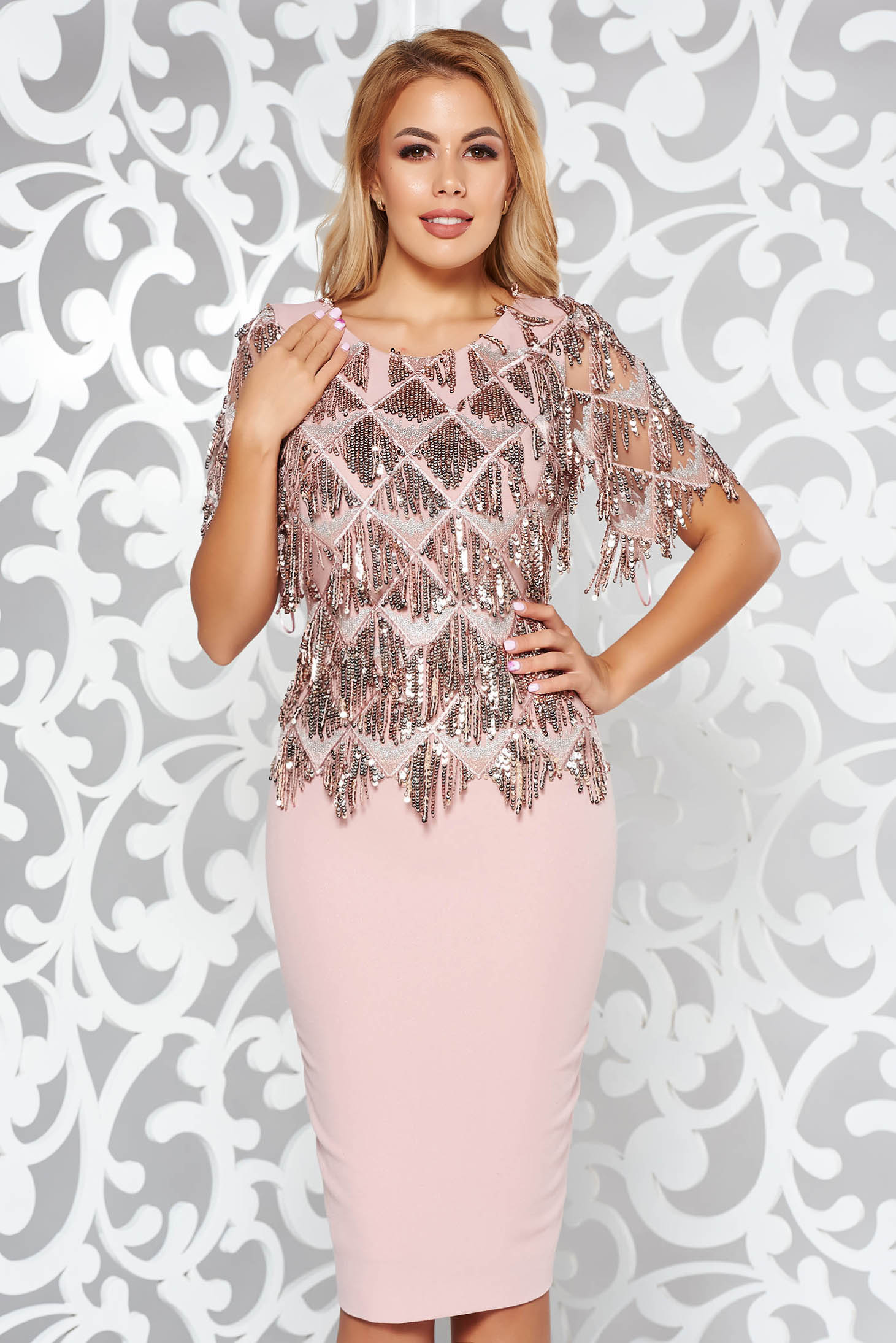 Rosa occasional pencil dress with sequin embellished details front embroidery