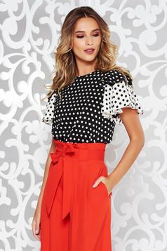 PrettyGirl black flared short sleeve women`s blouse dots print