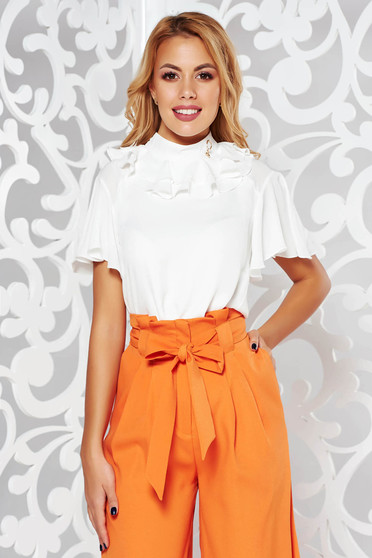 PrettyGirl white elegant from veil fabric flared women`s blouse with ruffle details with metalic accessory
