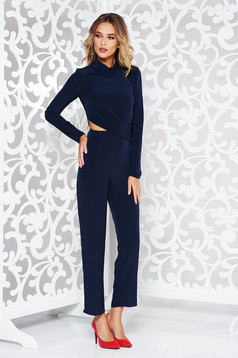 StarShinerS darkblue elegant long jumpsuit thin fabric front cut-out design