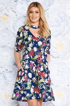 StarShinerS darkblue elegant flared 3/4 sleeve dress soft fabric with floral print