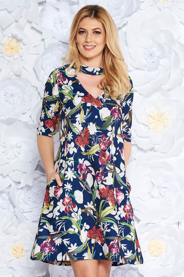 StarShinerS darkblue elegant flared 3/4 sleeve dress soft fabric with floral print