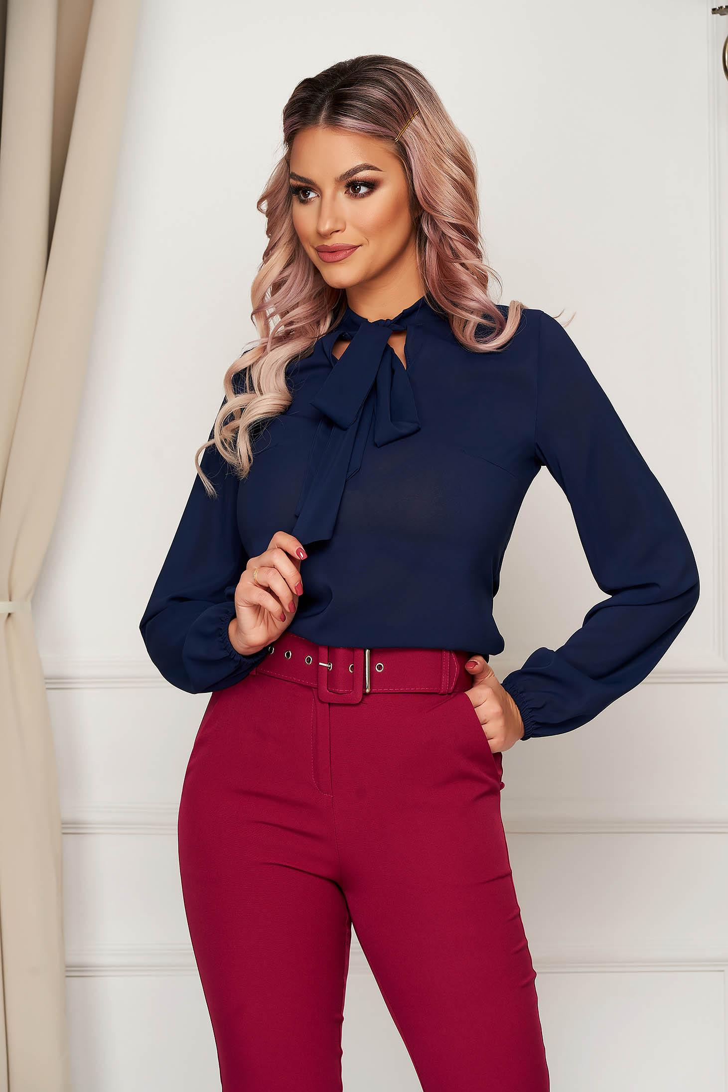 StarShinerS darkblue elegant flared women`s blouse voile fabric
