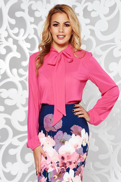 StarShinerS fuchsia elegant flared women`s blouse voile fabric
