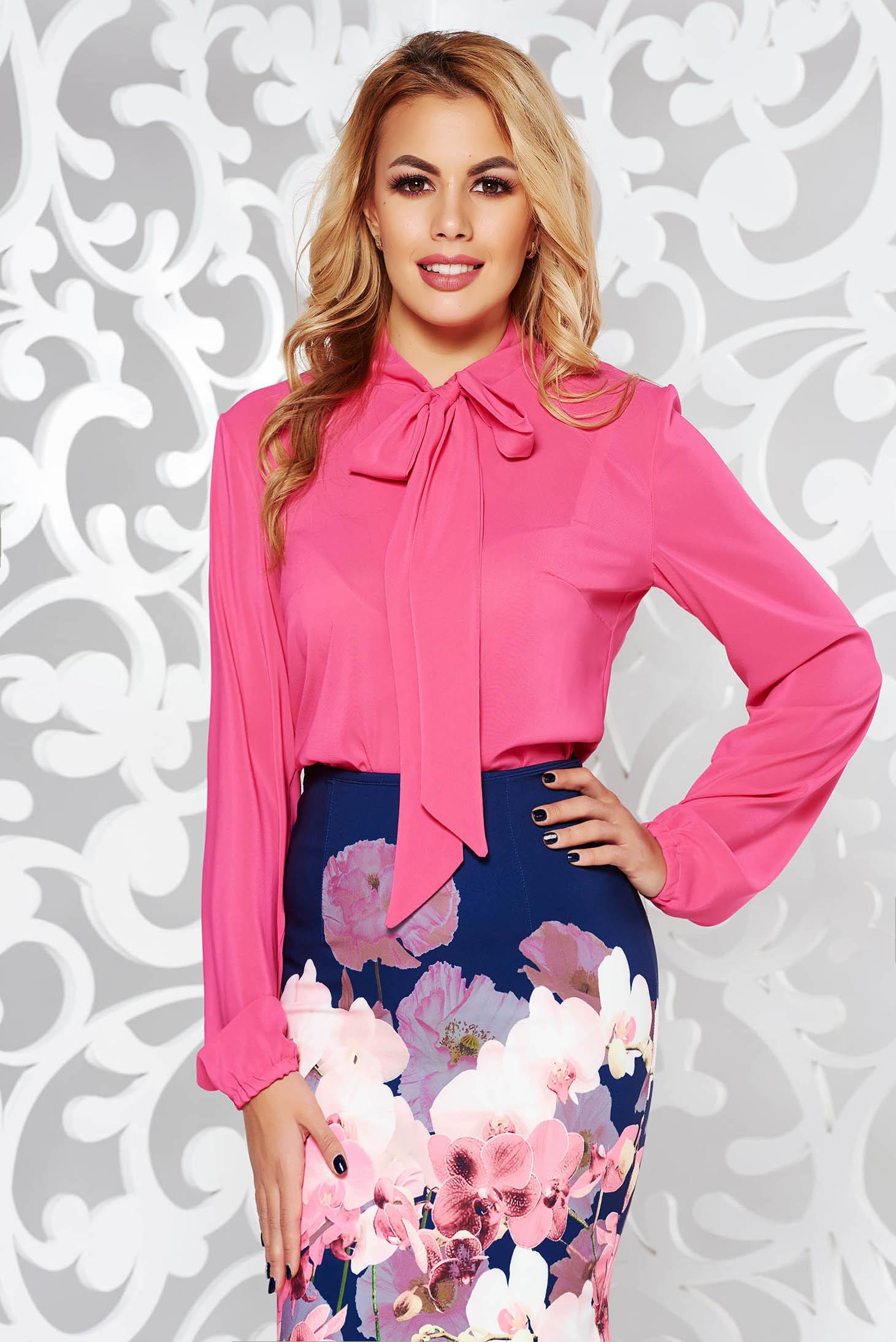 Bluza dama StarShinerS fuchsia eleganta cu croi larg din voal cu guler tip esarfa