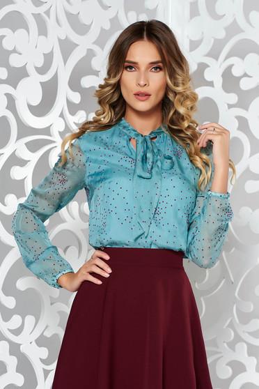 StarShinerS turquoise women`s blouse elegant natural silk flared