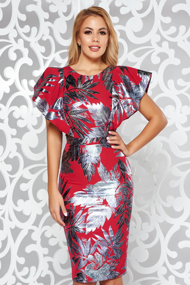 Red occasional midi pencil dress slightly elastic fabric with floral prints