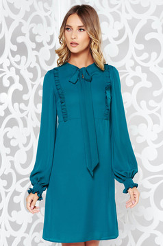 LaDonna green daily flared dress long sleeved voile fabric with ruffle details