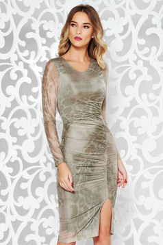 StarShinerS khaki clubbing pencil dress transparent fabric with inside lining with print details