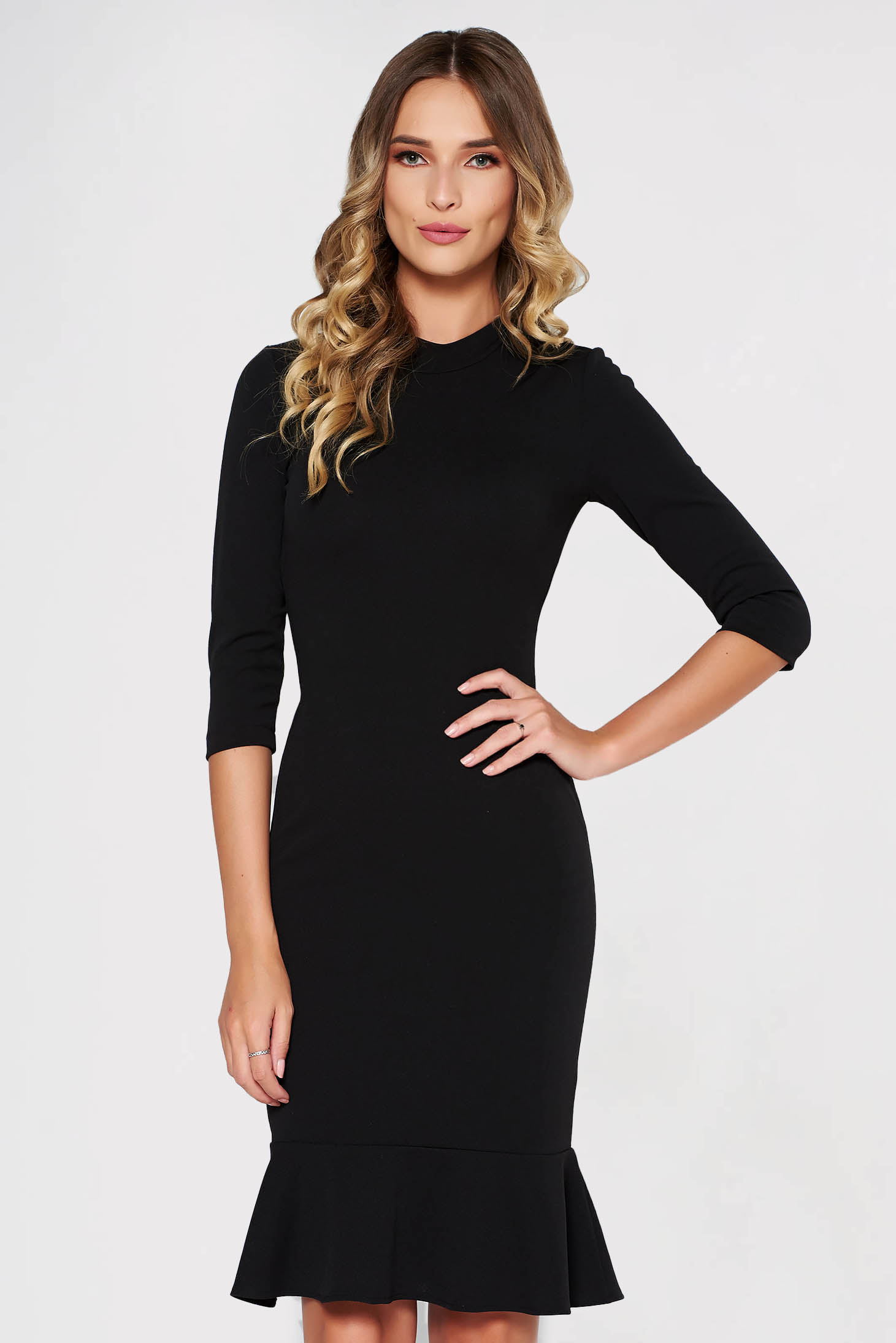 StarShinerS black dress elegant from elastic fabric with tented cut with ruffles at the buttom of the dress