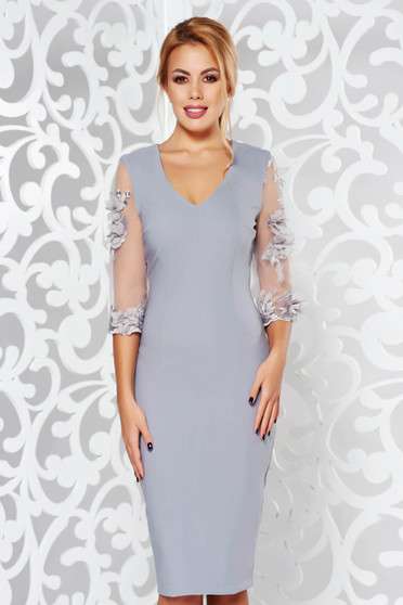StarShinerS grey elegant pencil dress from elastic and fine fabric with floral details with 3d effect