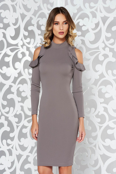 StarShinerS darkgrey pencil daily dress both shoulders cut out slightly elastic fabric midi