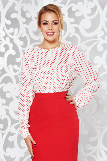 Cream casual flared long sleeve women`s blouse airy fabric with dots print
