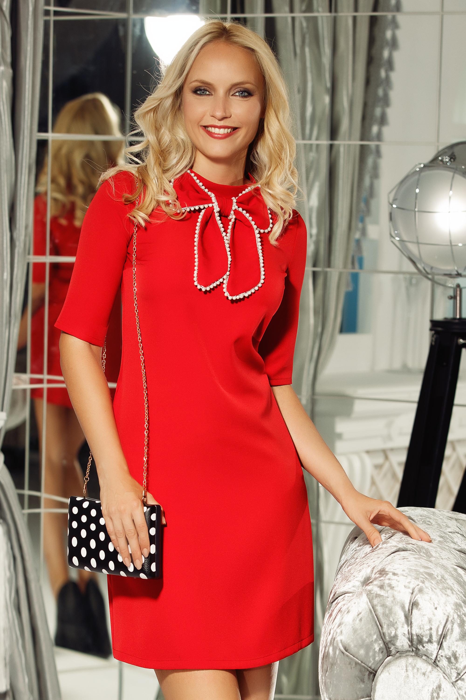 Piros Fofy elegáns a-vonalú ruha rövid ujjú enyhén rugalmas szövet masni  díszítéssel e64090e933