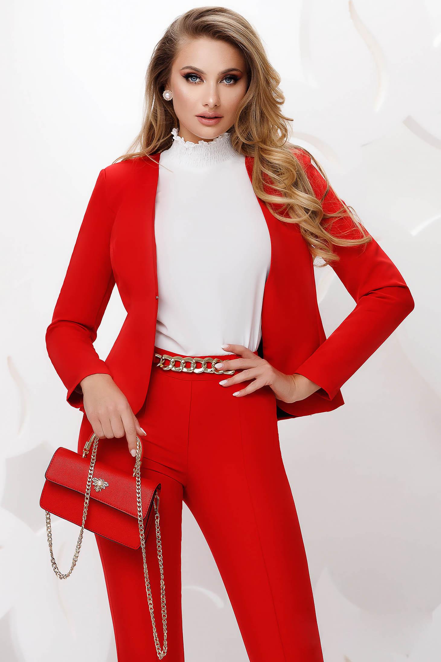 Piros irodai szűkített blézer enyhén rugalmas szövetből szivacsos vállrésszel